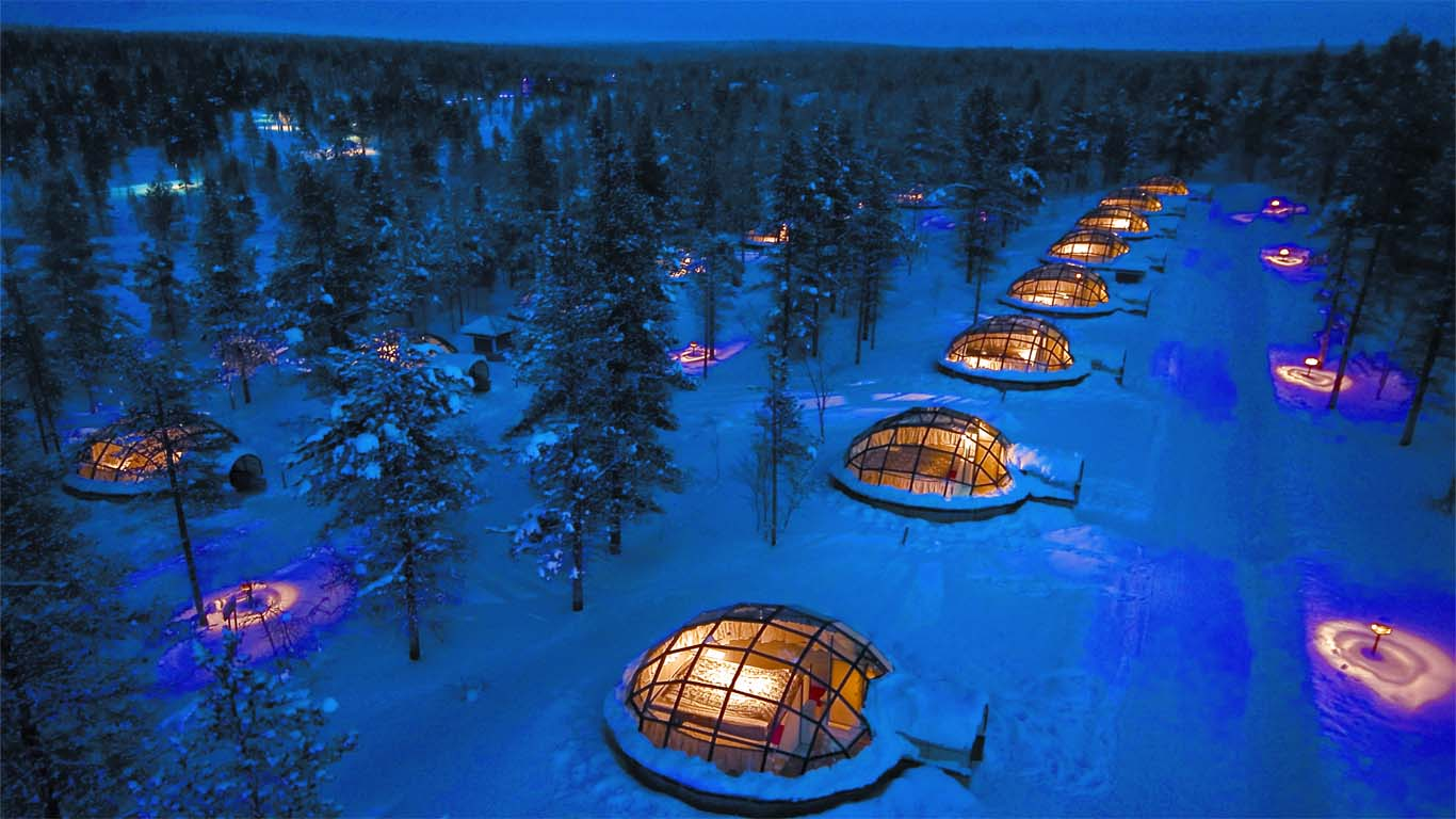 Shot from drone of igloos