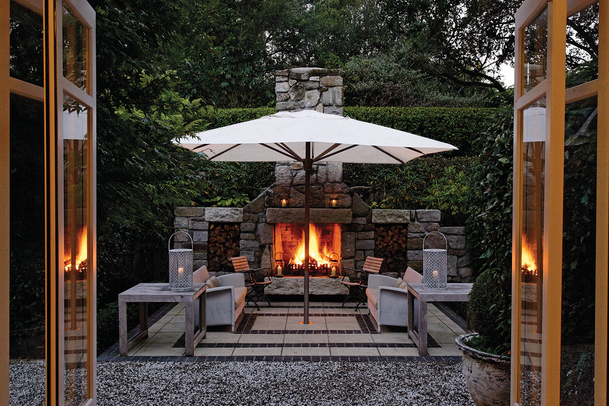 Shot of outdoor fire a Huka Lodge