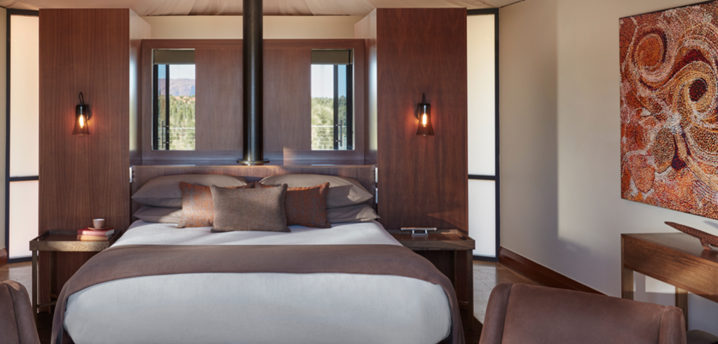 Indigenous artworks and contemporary furnishings at this luxurious glamping.
