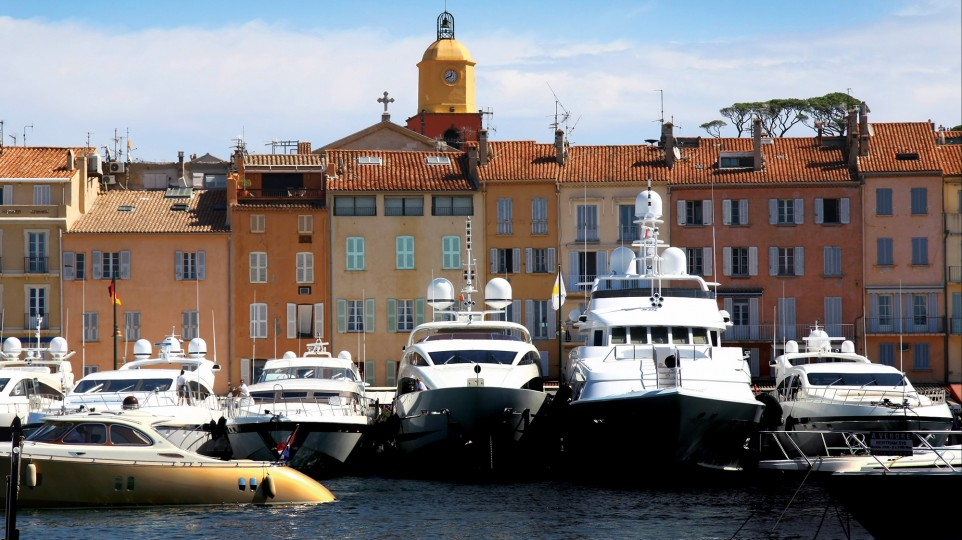 Large boats in St Tropez harbour.