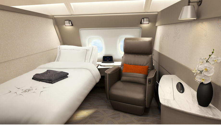 Singapore airlines first class chair and bed