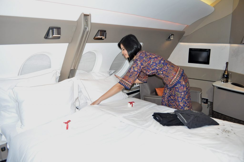 Singapore Airlines luxury flying first class turn down service