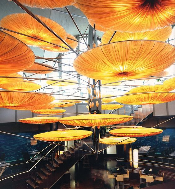 Jellyfish light display at L'Oceanografic Submarino Restaurante, Valencia. Image from Pinterest.