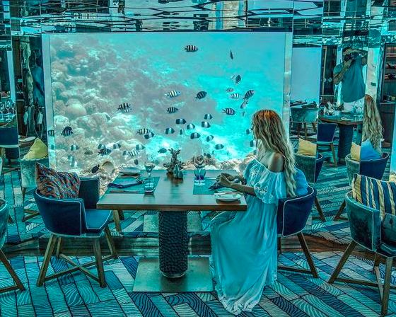 Woman in long dress dining at SEA Restaurant, Maldives. Image from Pinterest