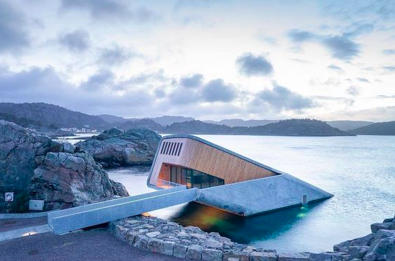 Under Restaurant pictured from the outside in Norway. Image from Pinterest.