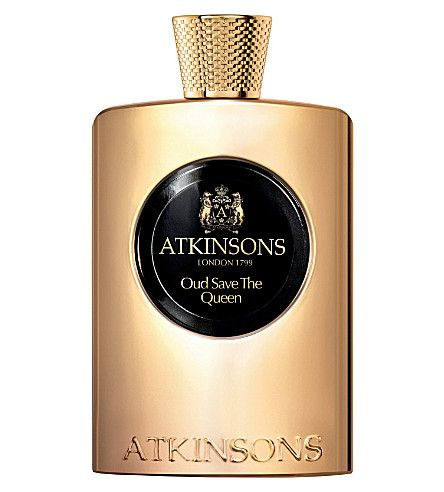 Gold Bottle of fragrance, Atkinsons our save the queen with black label.