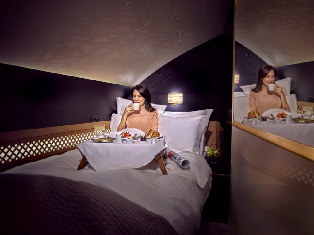flying first class Etihad the residence double bed