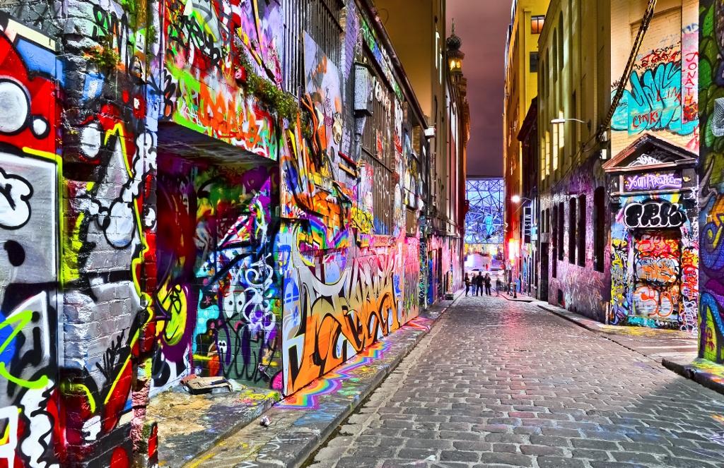 a photo of the graffiti art in melbourne city