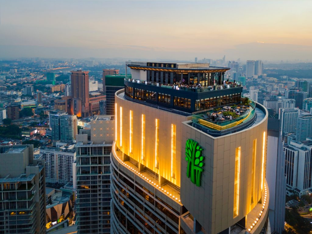 Rooftop on The Banyan Tree Hotel, Kuala Lumpur with city scape behind