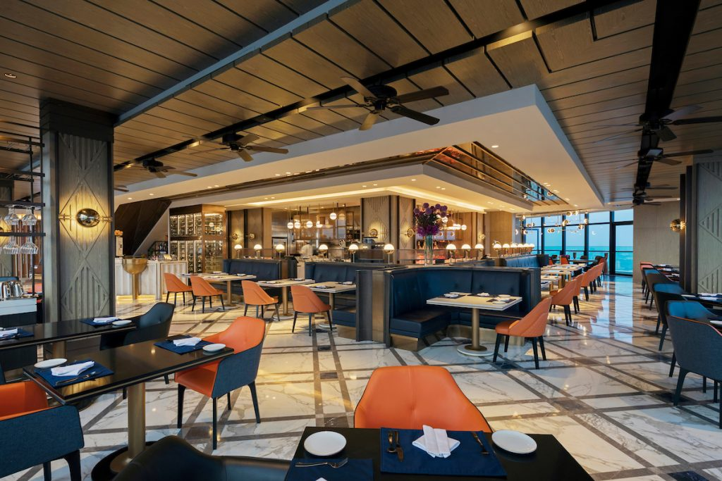 Rooftop restaurant in asian hotel with luxury interiors