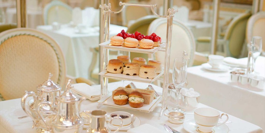 The three-tiered afternoon tea stand at The Ritz.