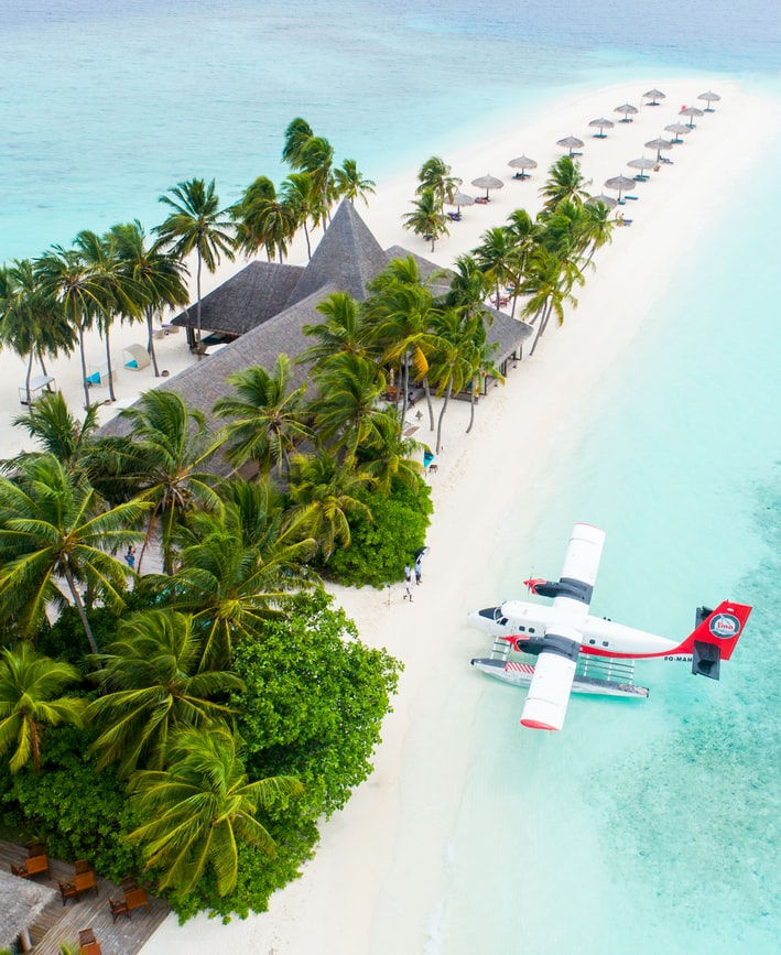 Light plane landing on clear blue water in an island with palm tress
