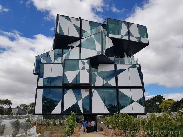 arty cube shapes building with glass panels