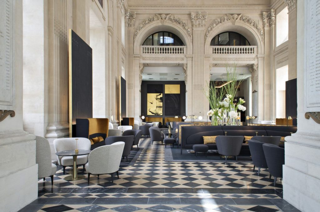 The lobby of the five star Intercontinental Hotel-Dieau in Lyon is one of the city's many architectural delights.
