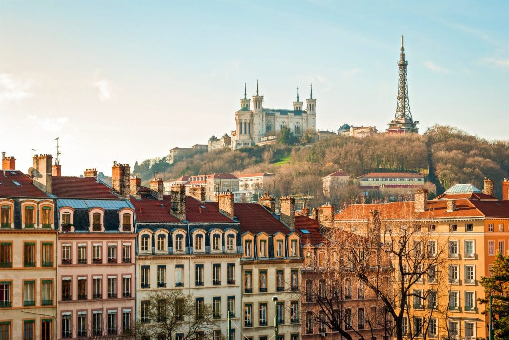 Building facades in Lyon, which  is a UNESCO world heritage city with classically beautiful French architecture