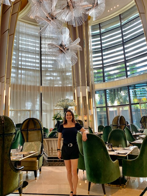 woman in shorts and top at the Fouquet seasons hotel jakarta
