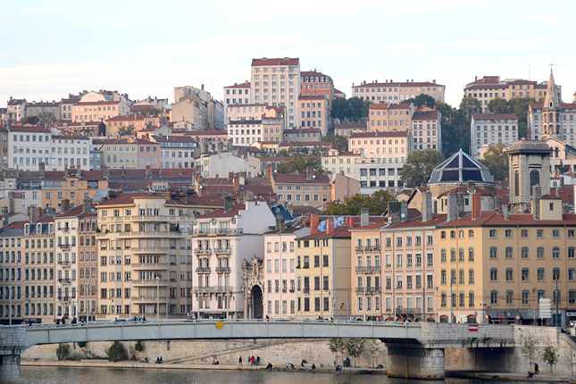 Buildings in Lyon, France. Lyon is a pretty city packed with beautiful buildings, providing hours of sights to see on foot.