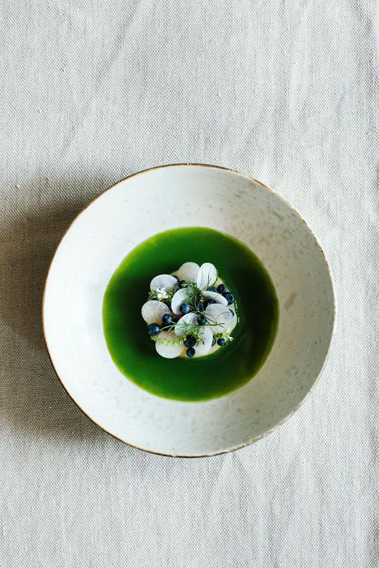 Green liquid with celeriac, cucmber and wild herbs.