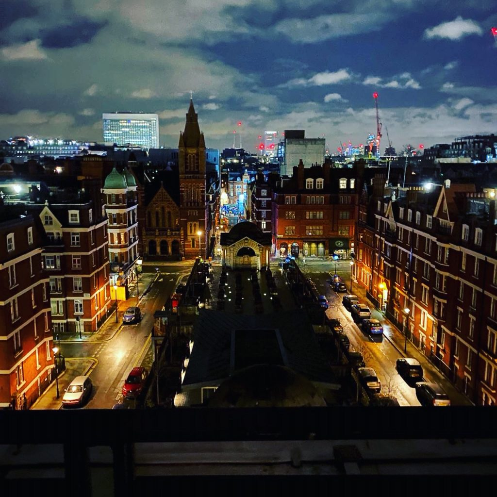 LOndon by night from a high hotel room in Mayfair