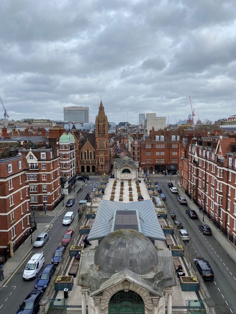 View of rooftops in London in Mayfair