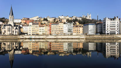 Lyon France buildings overlooking water