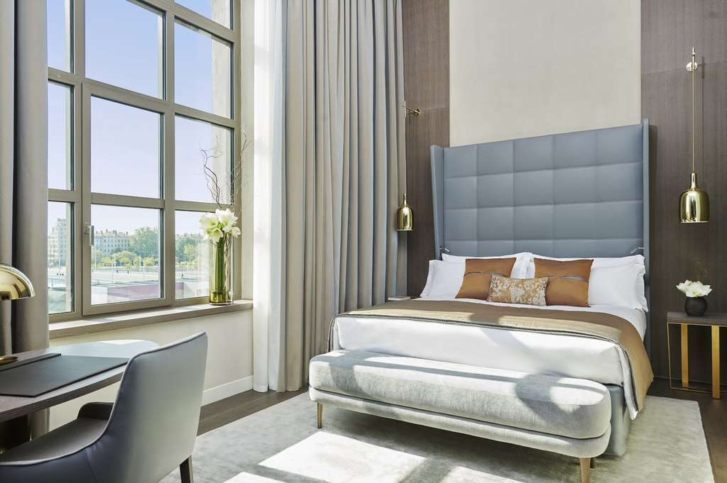 A spectacular two floor suite with large window overlooking the River at Intercontinental-Hotel Dieu