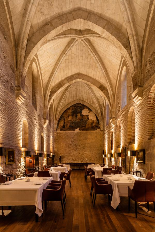 High cathedral-like ceilings in Spanish Restaurant