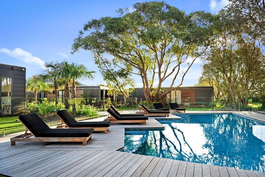 Beautiful pool with decking around and two chairs and a large gum tree in background