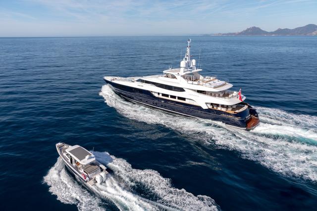 superyachts in the ocean