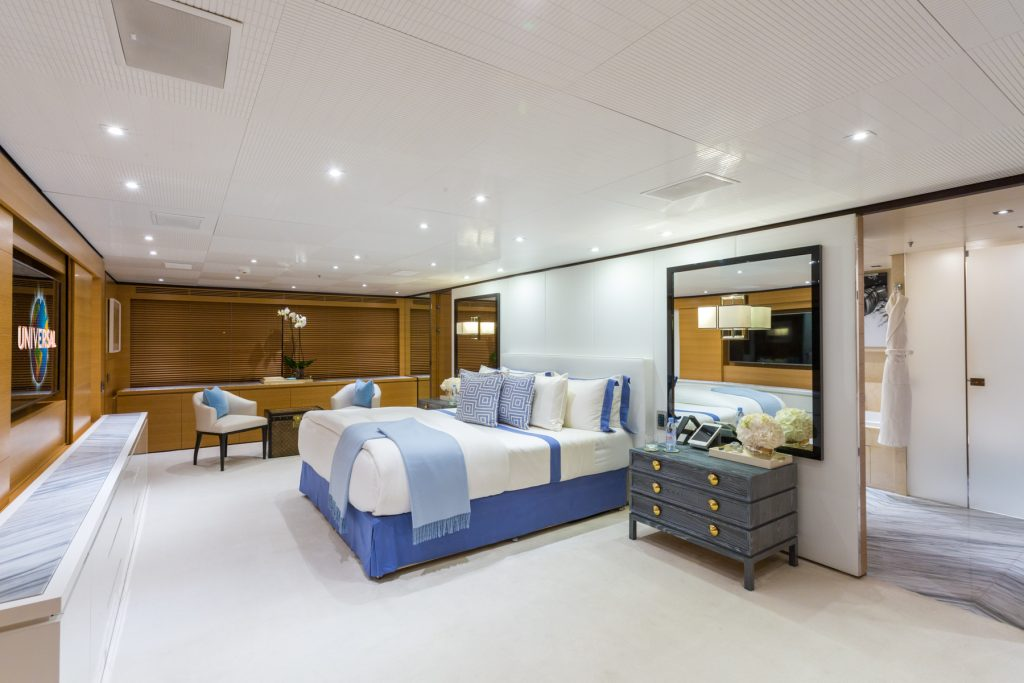 Master bedroom on the superyacht Mischief.