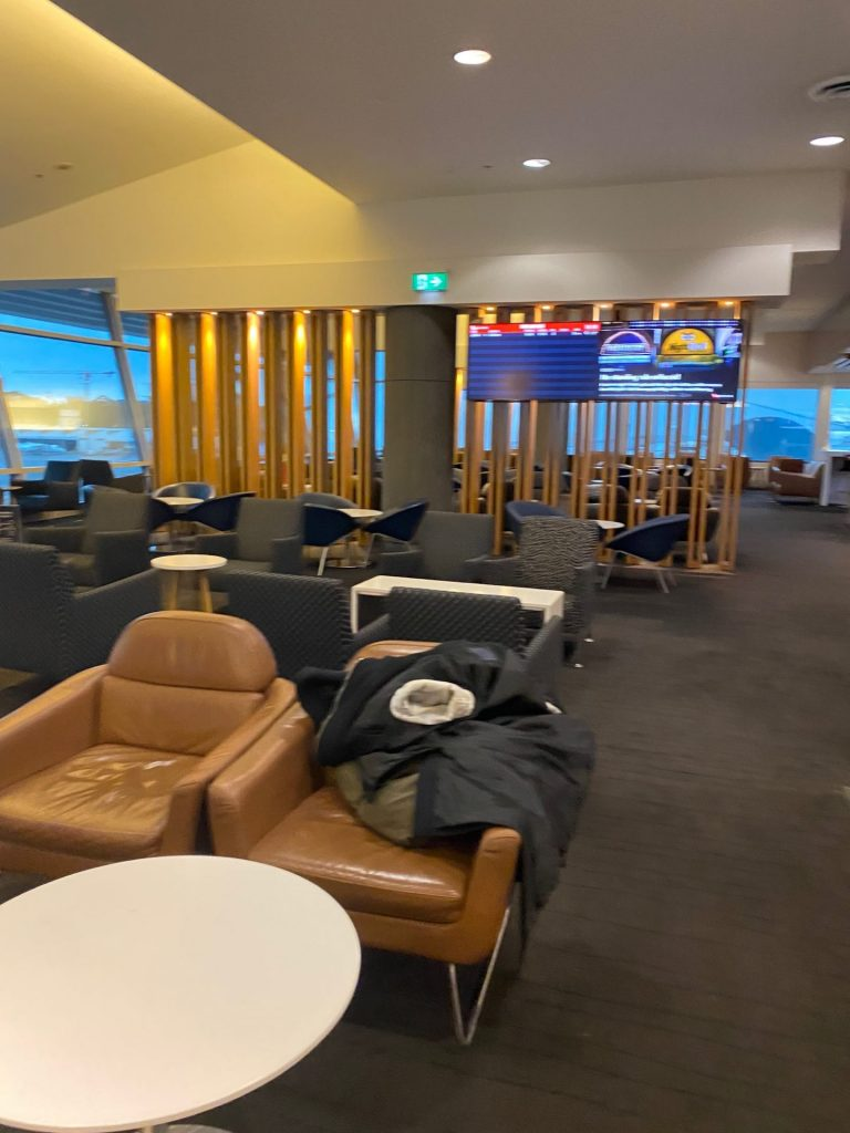 Empty Qantas lounges in Australia during pandemic.