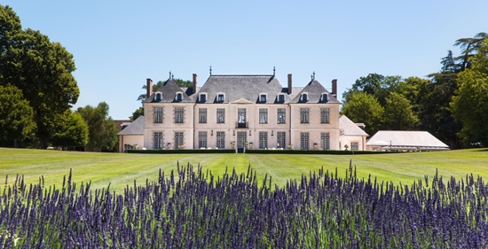A stunning private villa in the Loire Valley, France with green grass in front and lavendar in foreground
