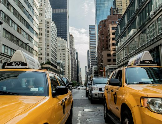 yellow cabs in main street nyc