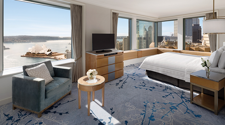 Rooms at The Shangri-La Hotel, Sydney have spectacular views.